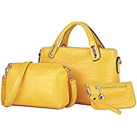OULII 3pcs/set Classic Leisure Women Handbag Shoulder Bags Tote Purse Leather Ladies Messenger Hobo Bag (Yellow)
