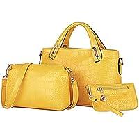 OULII 3pcs/set Classic Leisure Women Handbag Shoulder Bags Tote Purse Leather Ladies Messenger Hobo Bag (Yellow)