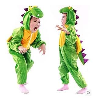 子供 コスプレ ハロウィン 着ぐるみ フリース アニマル 子供用 恐竜コスチューム 猿コスチューム (L(105-120), A:グリーン)