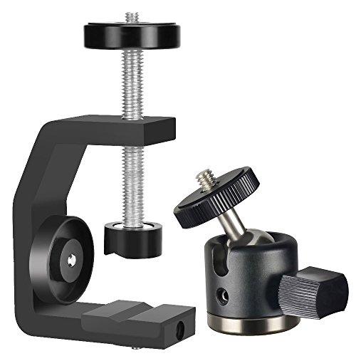 UTEBIT クランプ カメラ 雲台 セット 1/4ネジ付き 耐荷重3kg 強化アルミ製 三脚 ボールヘッド シュー付き ...