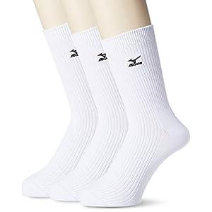 (ミズノ)MIZUNO(ミズノ) MIZUNO 18cm丈 2×1リブ 刺繍 白 3P 286283 00 ホワイト 24-26