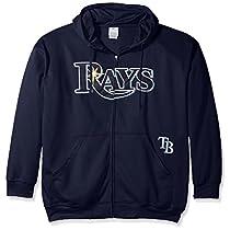 Tampa Bay Rays MLBマジェスティックメンズフルZip時間遅延Hoodie Navyブルービッグトールサイズ XL