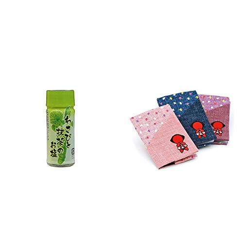 [2点セット] わさびと抹茶のお塩(30g)・おねがいさるぼぼ カードケース【紺】
