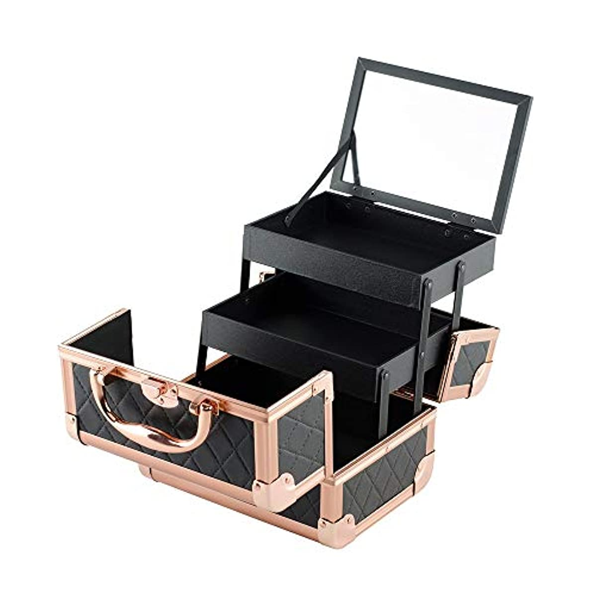 磁器してはいけないラッシュ特大スペース収納ビューティーボックス 化粧トレインボックス大4トレイプロフェッショナルマネージャーボックス - ロックとキーキャリングショルダーストラップとスタジオアーティストとスタイリストピンクのための調節可能なセパレータ...
