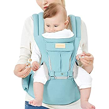 ベビー・ラップ・キャリア、ヒップシートと、防風帽子と、噛みタオルと、6アンド1のコンバーチブル・バックパック付き、乳児、赤ちゃん、幼児用の綿グリーン