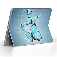Surface go 専用スキンシール サーフェス go ノートブック ノートパソコン カバー ケース フィルム ステッカー アクセサリー 保護 アニマル 蝶 青 写真 002820