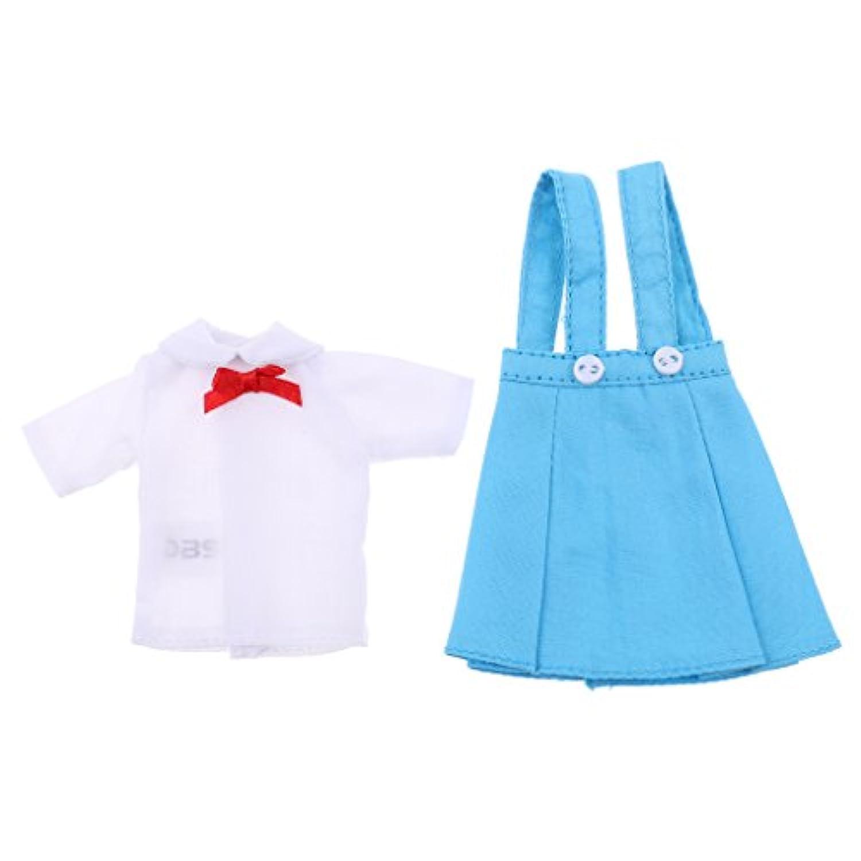Baosity ブルー 1/6スケール ファッション 人形服 12インチブライスアゾンリカドール用 ティー サスペンダードレスセット