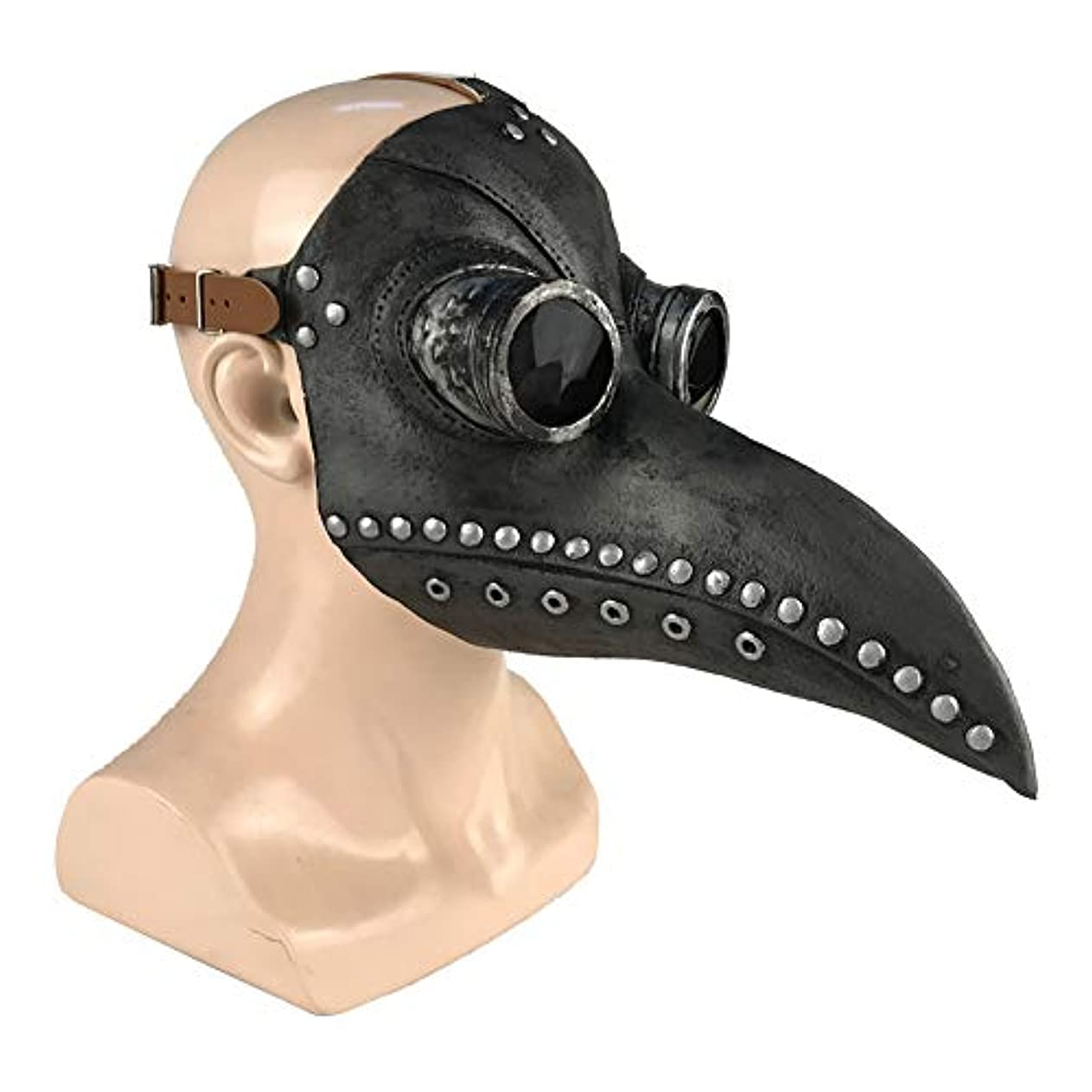 喉頭可能性適性Esolom ハロウィンマスク ペストスチーム喙ドクターマスク ホリデーパーティー用品 黒 銅の爪 ホラーマスク ハロウィンデコレーション 通気性