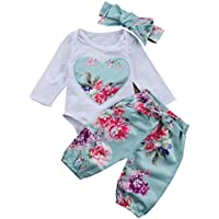 Toddler Girls Floral Outfit Long Sleeve Jumpsuit Bottoms Headwear 3PCS Birthday Formal Cake Smash Holiday Baby Shower Gift 12-18 Months