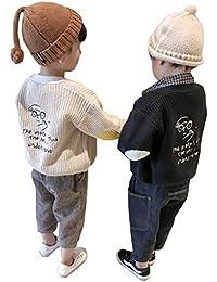 [ユケ二ー] 男児 子ども ニットカーディガン 長袖 カーディガン 男の子 可愛い アウター キッズ 130CM 防寒 子供 セーター 刺繍 トップス 入園 入学