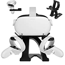 Esimen New Upgrade VR Stand for Oculus Quest 2/Quest/Rift S/HTC Vive Pro/Valve Index VR Headset Letter Modeling Display Holder and Touch Controllers Mount Station (Black 2)