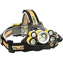 Etbotu 7LED USB Rechargeable Strong Light Headlamp with SOS Help-Calling Whistle Battery Indicator for Outdoor Activity Hunting Fishing Caving