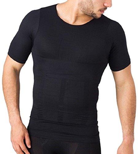 BTC 加圧インナー 補正下着 姿勢矯正 ダイエット 着圧 コンプレッションウェア シャツ (XL, ブラック)