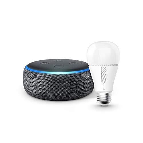 Echo Dot 第3世代 - スマートスピーカー with Alexa、チャコール TP-Link Kasa スマート LED ランプ 調光タイプ E26 KL110 800lm 電球色