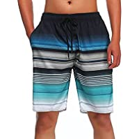 MILANKERR Men's Stripe Swim Trunk Beach Surf Shorts