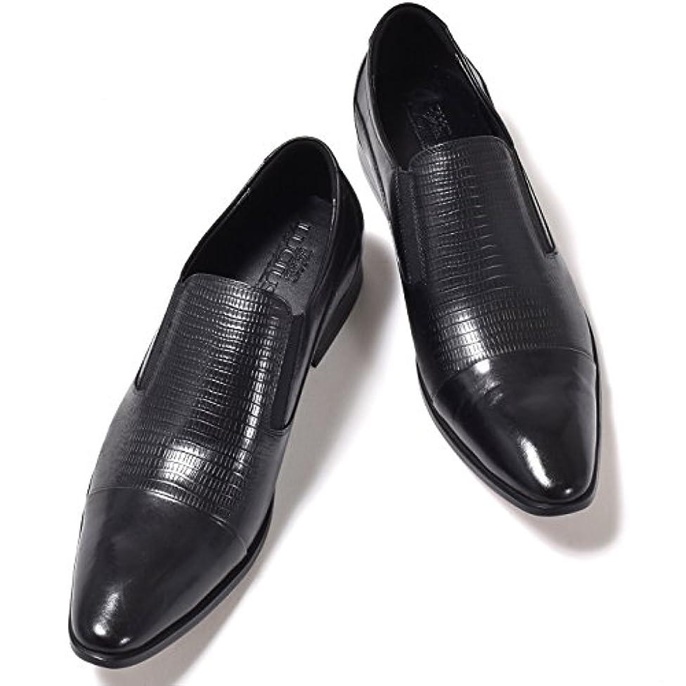 スパーク現在外向き[ルシウス] LUCIUS ローファー メンズ 革靴 スリッポン ビジネスシューズ レザー 型押し ドレスシューズ サイドゴア 紳士靴 【HA18519-3-CPZ】