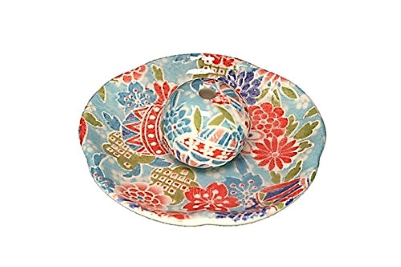 円形のラインスタイル京雅 青 花形香皿 お香立て 日本製 製造 直売