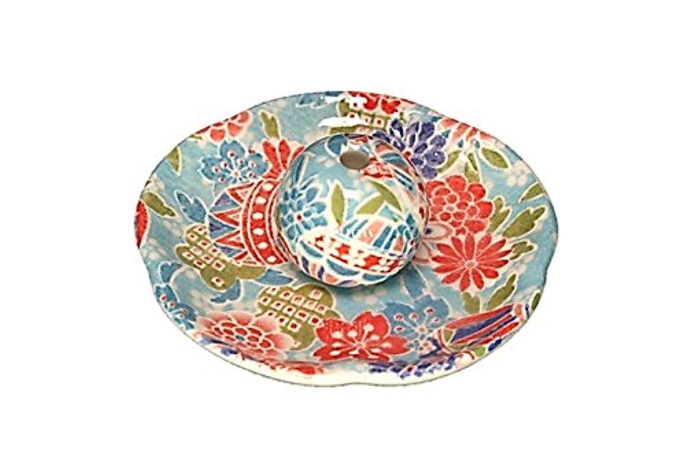引き金レッドデートネコ京雅 青 花形香皿 お香立て 日本製 製造 直売