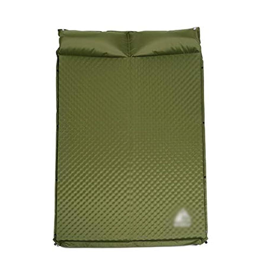 文明化する調和のとれた合併5センチ厚いダブルキャンプマット/スリーピングマット、自己膨張、枕エアマットレスポータブルアウトドアレジャーハイキング、キャリングバッグ (Color : ArmyGreen)