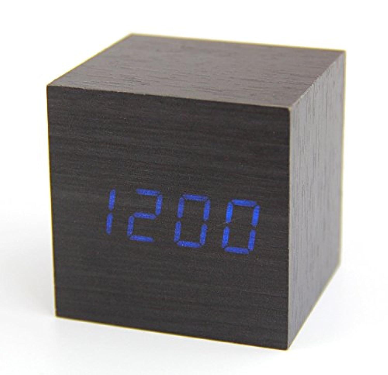 huacang木製USBサウンドコントロール木製キューブデジタルLEDアラーム時計温度計竹