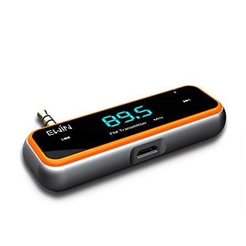 Ewin オーディオプラグ 対応 FM トランスミッター 3.5mm (オレンジ)