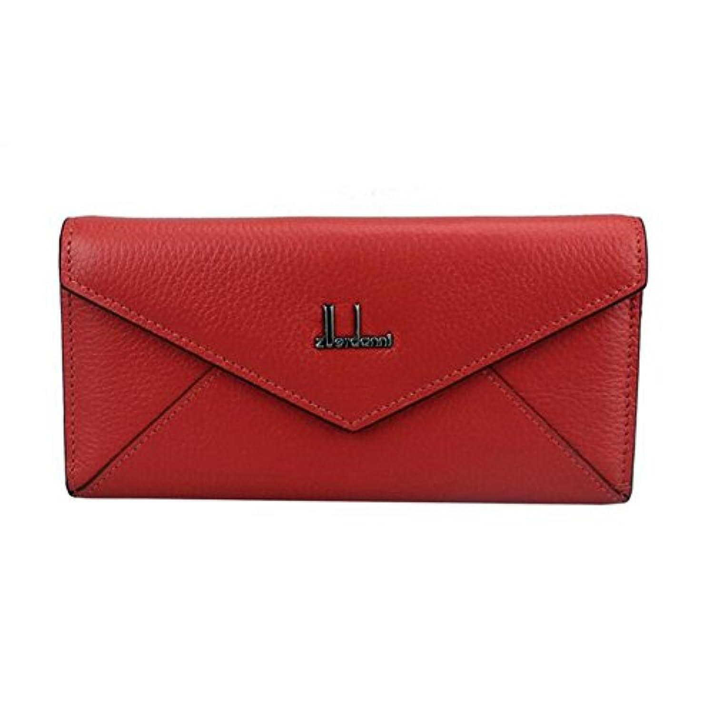 財布 レディースレザーエンベロープクラッチバッグMs. long wallet レジャー財布 ( Color : Deep watermelon red )