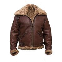 Men's B6 Flight Aviator Bomber Vintage Faux Fur Sheepskin Brown Leather Jacket