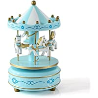 COODIO Wooden 4 Horse Rotating Carousel Figurine Music Box Birthday Christmas Children Gifts Toy 1# for Fashion Jewelry