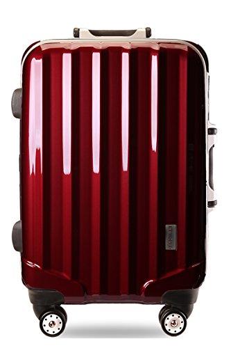スーツケースTSAロック搭載 4輪 ダブルキャスター フレーム開閉式 KT523A (M中型, ワインレッド)