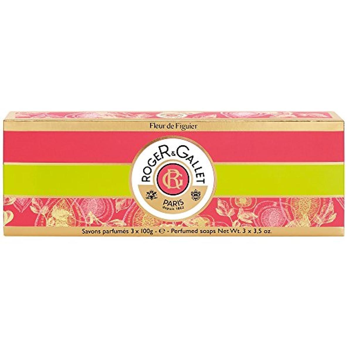 ハグ夜組立ロジャー&Galletのフルール?ド?フィギエソープコフレ3×100グラム (Roger & Gallet) (x2) - Roger & Gallet Fleur de Figuier Soap Coffret 3 x 100g (Pack of 2) [並行輸入品]