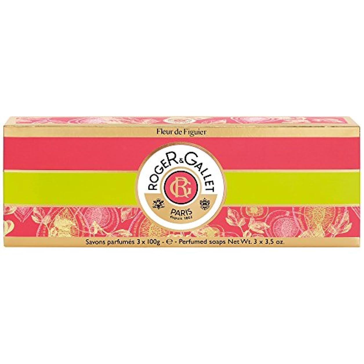 勇気のある繊維ロビーロジャー&Galletのフルール?ド?フィギエソープコフレ3×100グラム (Roger & Gallet) (x2) - Roger & Gallet Fleur de Figuier Soap Coffret 3 x...