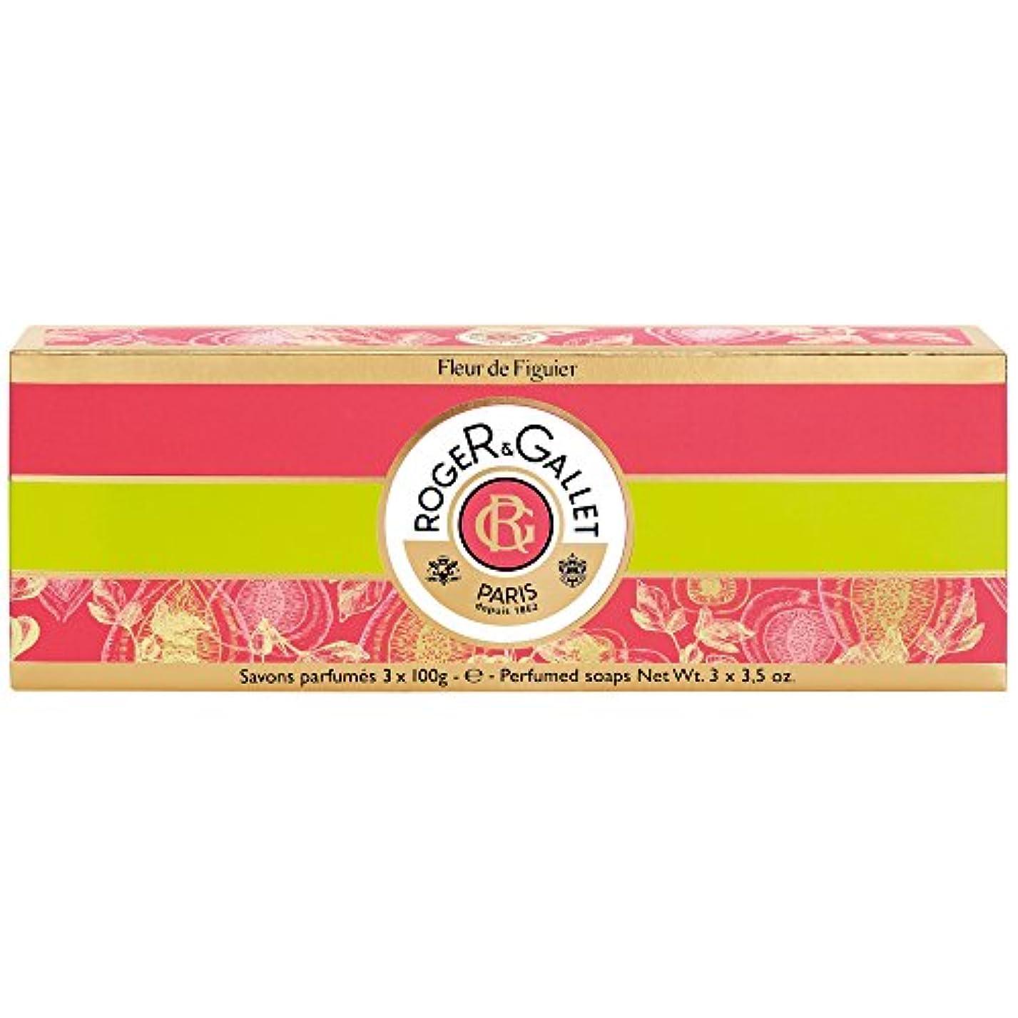 半円キャプション部ロジャー&Galletのフルール?ド?フィギエソープコフレ3×100グラム (Roger & Gallet) (x6) - Roger & Gallet Fleur de Figuier Soap Coffret 3 x...