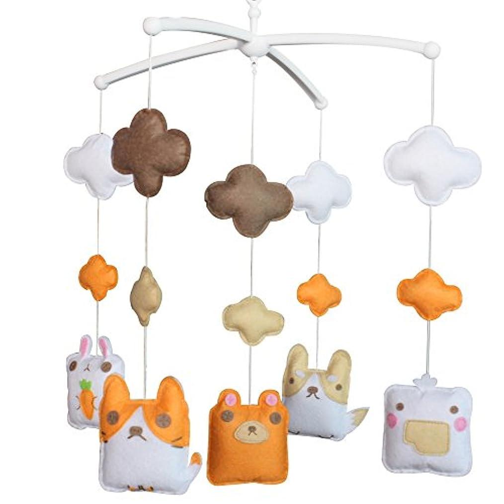 デザイナー寸前毎月ベビーベッドモバイル動物ミュージカルベビーベッド保育室ハンギング装飾おもちゃオレンジホワイトバードウサギウサギクマ