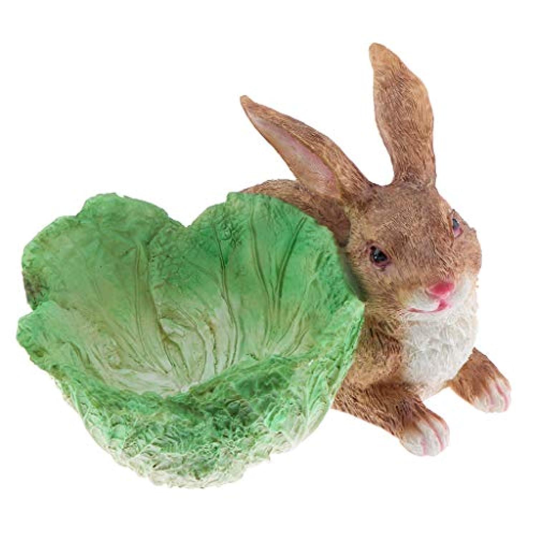 F Fityle ミニチュアウサギ妖精 マイクロ風景 盆栽 装飾 樹脂 素敵な プレゼント 全2色 - 褐色