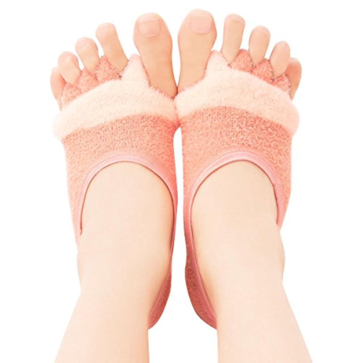 スチュワード埋める気分が良いフットカバー 5本指 レディース リラックス 足指開くクッション付きソックス