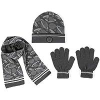 accsa Kid Boy Beanie Camo Reflective Knit Hat Gloves Scarf Set