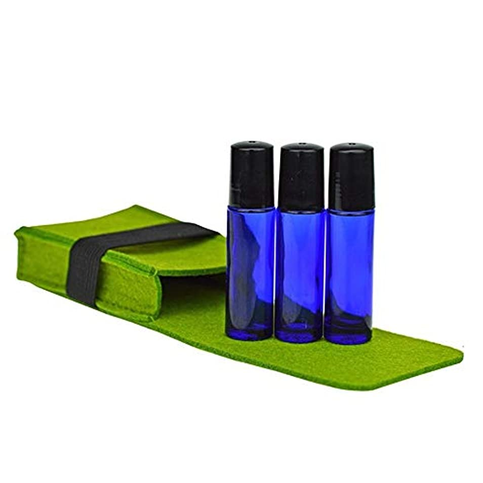 許容調整研磨精油ケース 10ML油のボトルエッセンシャルオイルトラベルオーガナイザーポーチバッグは、収納袋3色のフェルトエッセンシャルオイルキャリングケース 携帯便利 (色 : 緑, サイズ : 10X6.5X2.5CM)