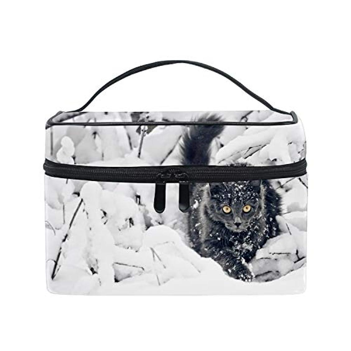 トリムフェード注文収納バッグ 化粧ポーチ トラベルポーチ 小物入れ 大きめ 女の子 可愛い プレゼント猫雪動物ネイチャー
