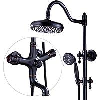 シャワーシステム - フル銅レインシャワーセット、ウォールマウントレインシャワーヘッド、デラックスバスルームシャワーセット、調節可能シャワー、ブラック