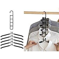 YLXハンガー 省スペース5段着脱式 衣類収納 ハンガー すべらない 頑丈なスチール製 錆びにくい 5本組 コート スカード 洋服 綺麗に収納ハンガー ブラック