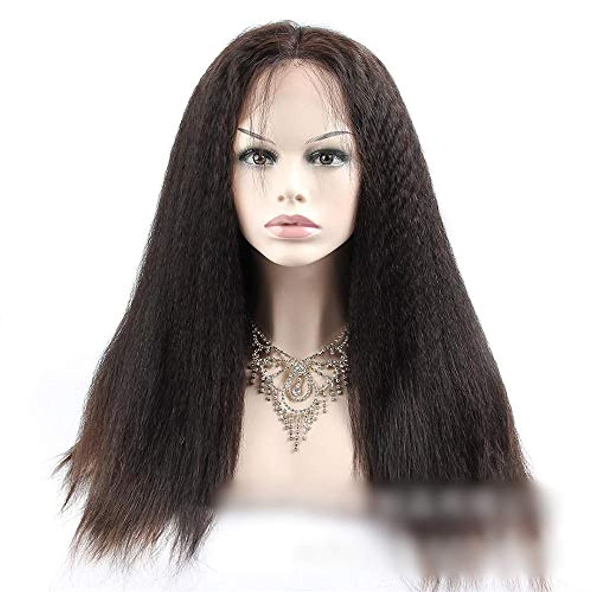 サスペンションメタン臨検HOHYLLYA 360人間の髪の毛のレースの閉鎖前頭変態ストレートヘア高密度ヘアエクステンション小さなカーリーウィッグ (色 : 黒, サイズ : 12 inch)