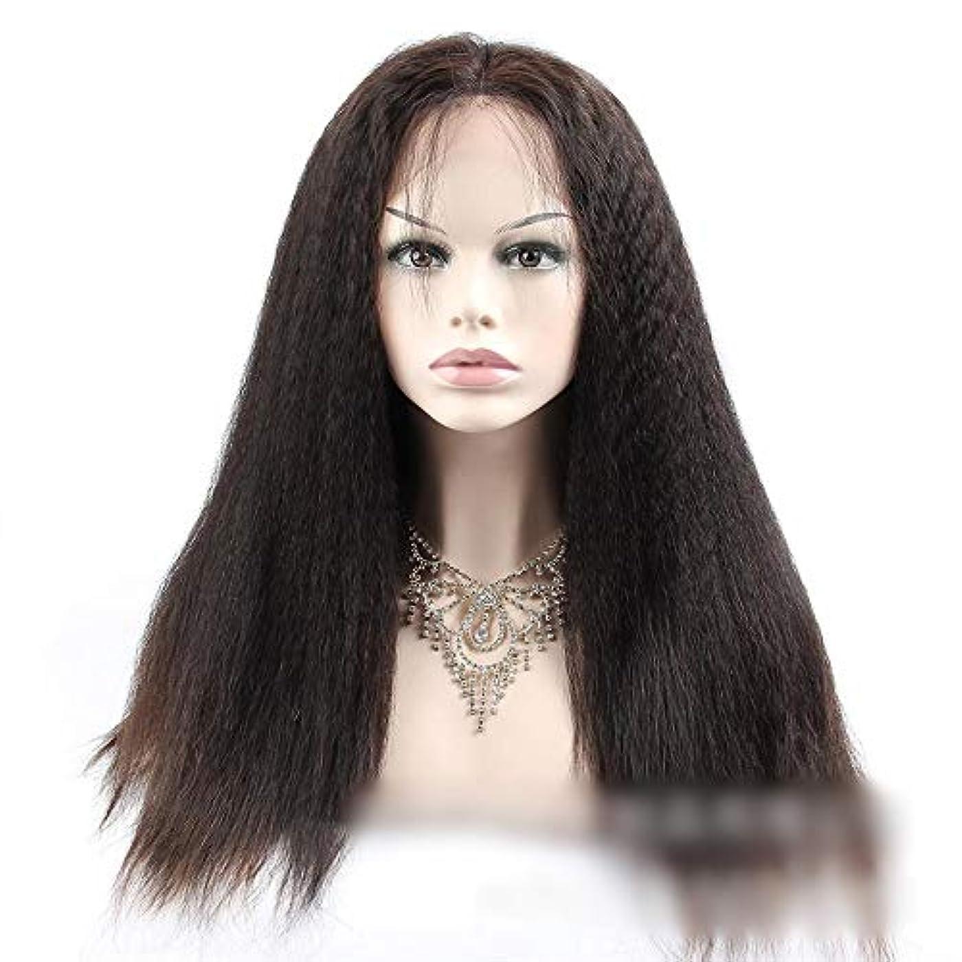 反対するペン更新するHOHYLLYA 360人間の髪の毛のレースの閉鎖前頭変態ストレートヘア高密度ヘアエクステンション小さなカーリーウィッグ (色 : 黒, サイズ : 12 inch)