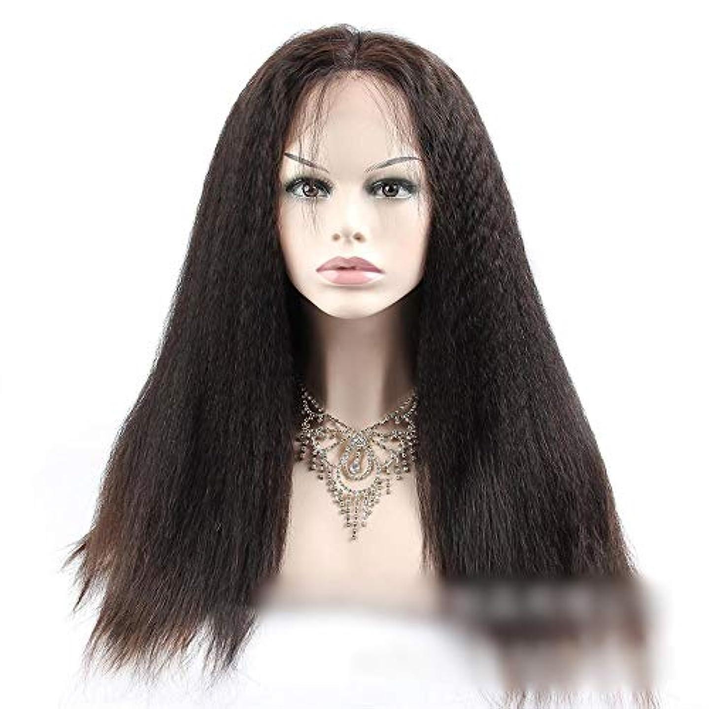 骨髄お祝い分HOHYLLYA 360人間の髪の毛のレースの閉鎖前頭変態ストレートヘア高密度ヘアエクステンション小さなカーリーウィッグ (色 : 黒, サイズ : 12 inch)