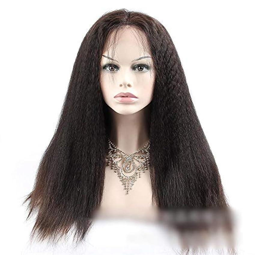 札入れ志す手がかりHOHYLLYA 360人間の髪の毛のレースの閉鎖前頭変態ストレートヘア高密度ヘアエクステンション小さなカーリーウィッグ (色 : 黒, サイズ : 12 inch)