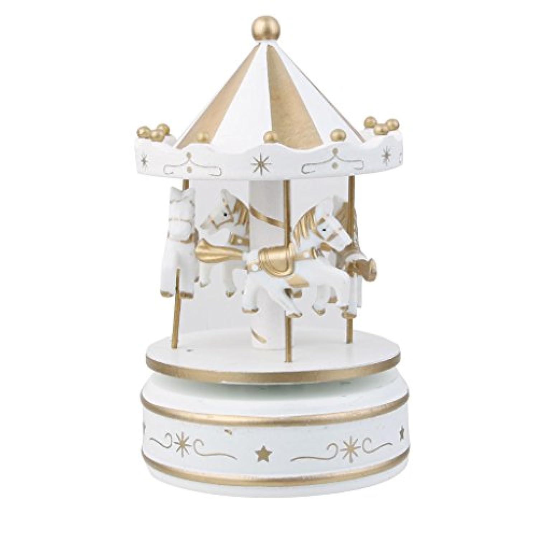 Dovewill 木製 メリー ゴー ランド カルーセル ウインドアップ オルゴール 子供 贈り物 全2色 - ホワイト