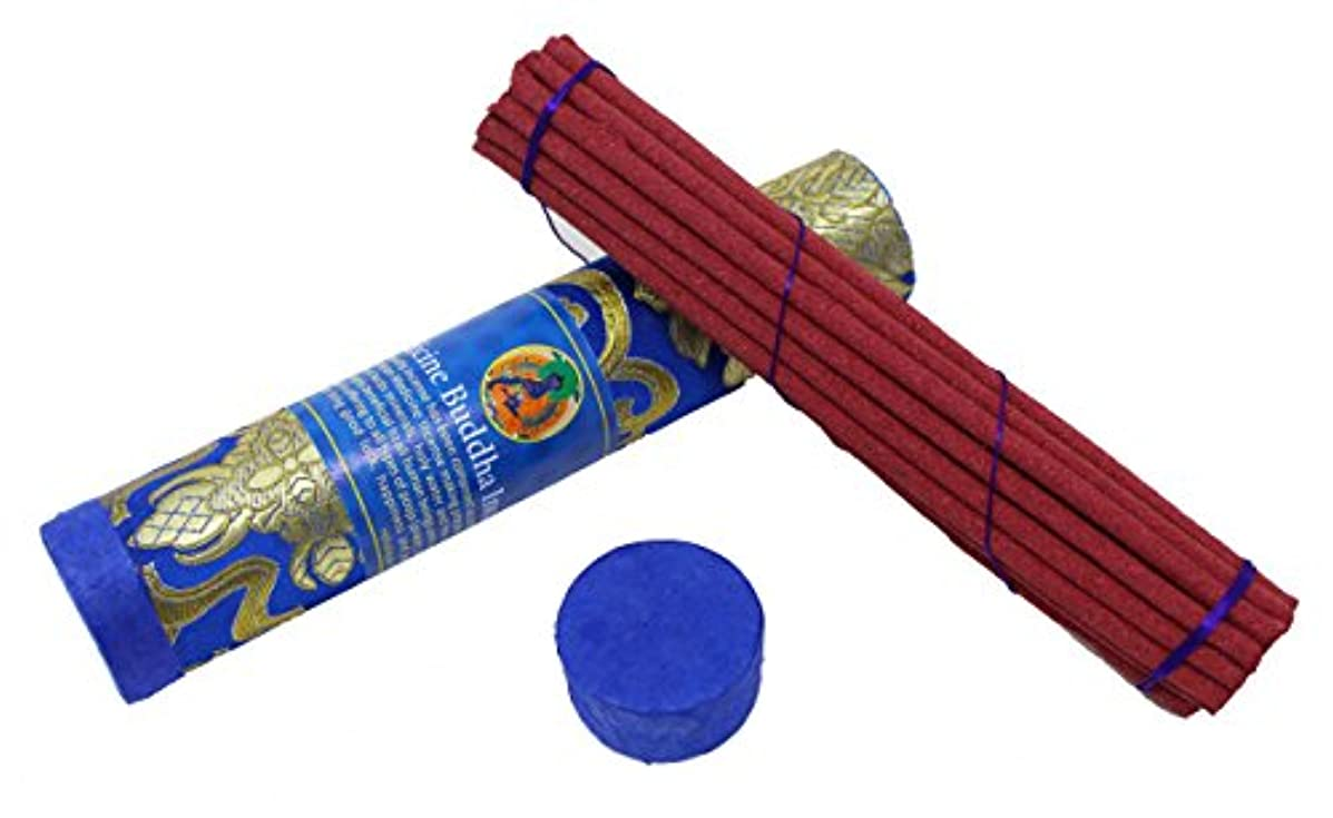 疎外する保護対抗juccini Tibetan Incense Sticks ~ Spiritual Healing Hand Rolled Incense Made from Organic Himalayan Herbs ブルー
