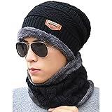 KISSTYLE ニット帽子&ネックウォーマー セット メンズ レディース 冬 防寒 ワッチ アウトドア ビーニー (ブラック)