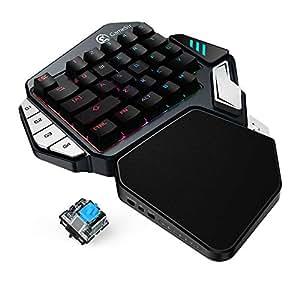 GameSir Z1 ゲーミングキーボード片手 スマホ&タブレット&PC対応 メカニカル青軸 RGB1680万色 国内正規品