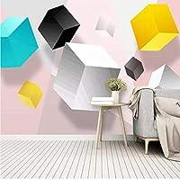 Mzznz カスタム3D抽象的な正方形の幾何学的背景壁紙壁画-280X200Cm