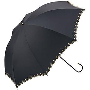 ワールドパーティー 遮光 全3色 長傘 手開き 日傘/晴雨兼用 星柄スカラップ ブラック 8本骨 50cm UVカット [正規代理店品]